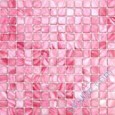 Pink Tiles Dyed Mother Of Pearl Mosaic Shell Bathroom