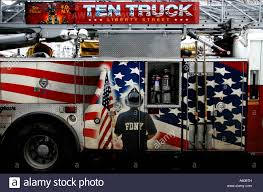 Fire Truck With Painted American Flag In Memory Of The World Trade ...