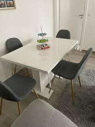 esstisch esszimmer mit4stühle graue stühle weiß hochglanz