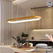 led hängeleuchte holz esstisch pendelleuchte modern dimmbar esszimmerle mit fernbedienung 70cm ovale design deko esszimmer le höhenverstellbar