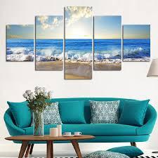 5 stücke schöne meer sonnenuntergang landschaft wandbild drucken auf leinwand für wohnkultur ideen farben auf wandbilder keine gerahmte