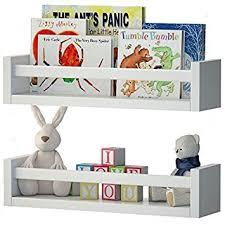 set of 2 nursery room wall shelf white wood baby