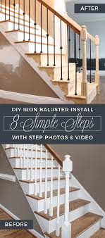 How To Replace Wood Spindles With Wrought Iron./--want To Do This ... Stairs How To Replace Stair Spindles Easily How To Replace Stair A Full Remodel At The Stella Journey Home Visit Website The Orange Elephant In Room Chris Loves Julia Banister Spindle Replacement Replacing Wooden Balusters Wrought Iron Dallas Spindles 122 Best Staircase Ideas Images On Pinterest Staircase Open Handrail Vs Half Wall Basement Remodeling Ideas Dublin Ohio Wrought Iron Google Search For Home Stalling Banister Carkajanscom Oak Top Latest Door Design Remodelaholic Renovation Using Existing Newel