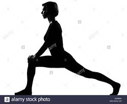 Woman Exercising Fitness Workout Yoga Stretching Legs Warming Up In Shadow Grayscale Silhouette Full Length Studio Isolated White Background