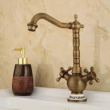ounona antik messing wasserhahn heißer und kalter armatur vintage waschtischarmaturen mischbatterie kupfer wasserhahn für badezimmer küchen
