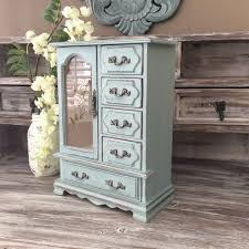 Special Listing For Teesh BLUE JEWELRY BOX Sale Beach Cottage Jewelry Armoire Wooden Organizer Shabby Chic Rustic