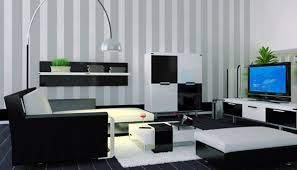 cheap simple living room design with black and white color cool
