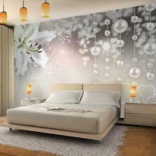 fototapete blumen lilien perlen vliestapete braun wohnzimmer schlafzimmer modern