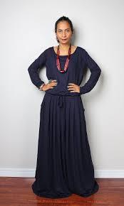 navy blue maxi dress dark blue long sleeve dress autumn