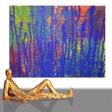 details zu gemälde blau grosses bild abstrakt firma geschenk wohnzimmer 200 x 140