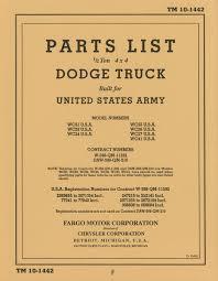 100 Dodge Truck Body Parts TM 101442 Manual 12 Ton WC Of WW2
