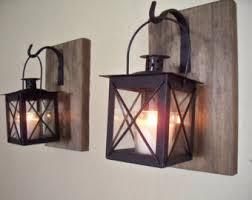 Rustic Bathroom Decor 2 Lantern Pair Wall Sconces Housewarming