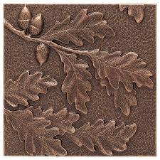 Brown Metal Wall Decor Oak Leaf Antique Copper Rustic Art