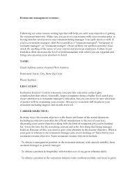 Cover Letter For Resume Restaurant Manager Sample