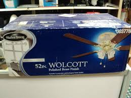 Harbor Breeze Ceiling Fan Issues by Harbor Breeze 52 In Wolcott Polished Brass Ceiling Fan With Light