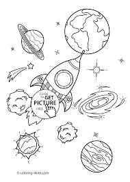Space Coloring Pages For Kids With Rocket Printable Free