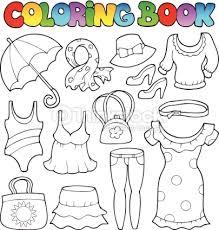 Coloring Book Clothes Theme 2 Vector Art