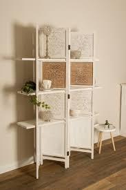 casa padrino landhausstil raumteiler mit 3 regalen antik weiß antik braun 155 x 2 x h 181 cm shabby chic paravent sichtschutz trennwand