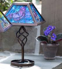 Wayfair Tiffany Table Lamps by Plow U0026 Hearth Tiffany Style Butterfly Solar Outdoor 12 75