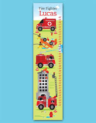 100 Fire Trucks Kids Custom Truck Growth Chart For By TBone Squid Paperteria