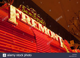 neon and light bulb sign for fremont las vegas usa stock photo