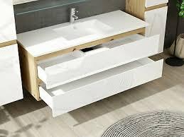 badmöbel set eiche weiß badezimmermöbel hochschrank