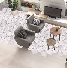großhandel marmor dekorative boden aufkleber holz weiß hexagon selbstklebende fliesen kunst wandtattoo aufkleber diy badezimmer dekor sophine11