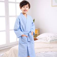 Spring And Summer Boys Nightgown Cotton Girl Absorbent Swimming Bathrobe Children Waffle Kids Pajamas