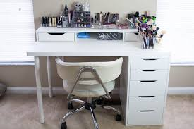 Micke Desk With Integrated Storage Hack by Makeup Desk Is Made Up Using The Alex Drawer Unit Alex Add On