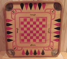 VINTAGE CARROM 2 Sided Wood Wooden Game Board 1970 HOME DECOR SEE PICS
