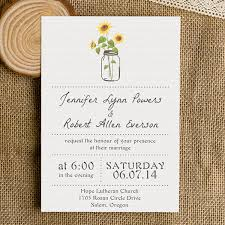 Simple Rustic Wedding Invitations With Sunflower Mason Jars EWI355 As Low 094