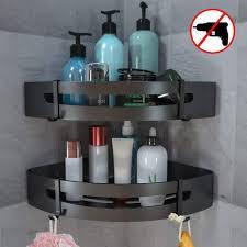 duschregal ohne bohren badezimmer regal badregal aluminium selbstklebender kleber matte finish badregal 2 stück