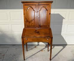 solid pine habersham plantation slant front secretary desk hutch
