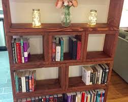 Rustic Bookcase Thick Sectioned Book Shelves Bookshelf Custom Sections