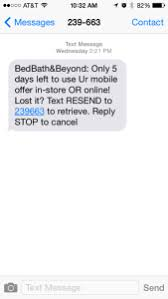 Bed Bath Bey by Bed Bath And Beyond Sms Short Code 239663 U S Short Code