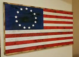 Hand Torched Rustic Pallet Wood American Flag Betsy Ross USA
