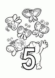Number 5 Coloring Pages For Preschoolers Counting Numbers Printables Free