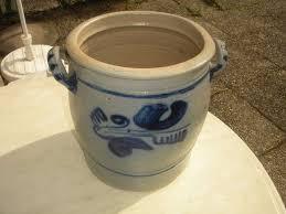 grand pot gris bleu en grès céramiques anciennes