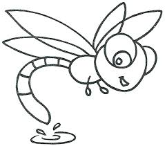 Coloring Pages Dragonfly Page Simple Cartoon Free Trend On Cute