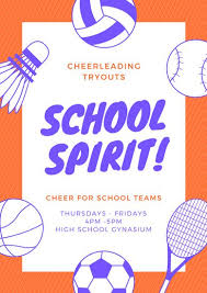 Orange Sports Icons Cheerleading Poster