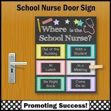 where is the school nurse door sign colorful nursing office decor