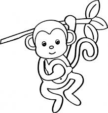 Cute Monkey Coloring Pages Hanging From Tree