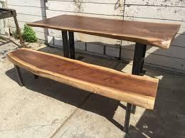 Live Edge Black Walnut Slab Dining Table Bench Ambrose Woodworks