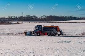 100 Truck With Snow Plow Vordingborg Denmark January 17 2016 A