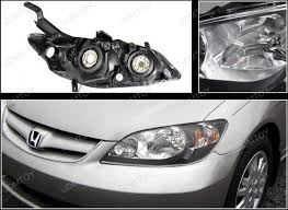 04 05 honda civic black housing style reflector headlights