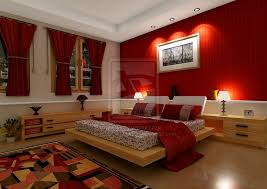 Red Theme Bedroom Design With Rug And Wall Lamps
