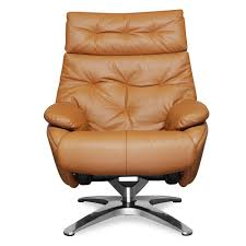 Poly And Bark Paradigm Tan Leather Lounge Chair With Ottoman ...
