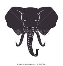 Elephant Head Silhouette Stock Royalty Free