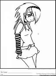 Impressive Emo Anime Girls Coloring Pages With For