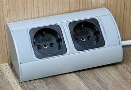 praktische eck steckdose 2x schuko aluminium für küche